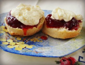 lemonade scones served with jam and cream